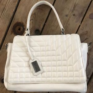 Bagdley Mischka white leather quilted purse.